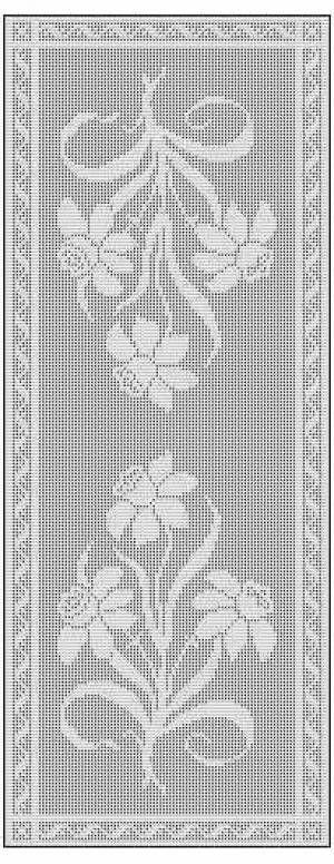 filet crochet patterns daffodil filet crochet chart free pattern for table runner XZCDAUN