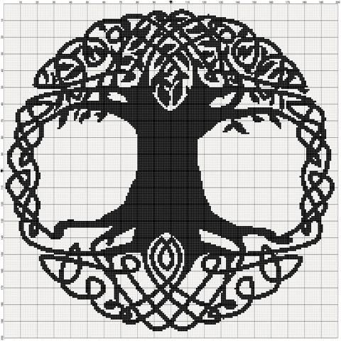 filet crochet patterns filet crochet pattern - celtic tree ILFXZYV