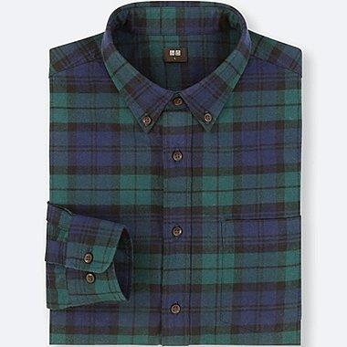 flannel shirts for men men flannel checked long-sleeve shirt, dark green, medium MIGEVCG