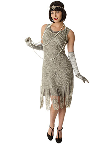 flapper dresses 1920s replica silver beaded sequin sheba flapper dress ZOMODRN