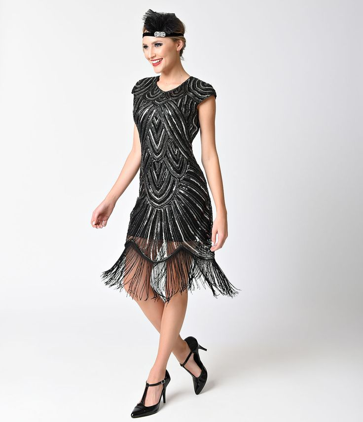 flapper dresses 1920s style black silver sequin mesh cap sleeve fringe flapper dress $88.00  at vintagedancer.com BHZFMVR
