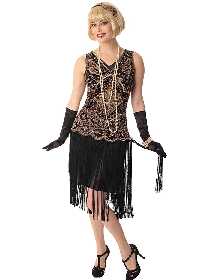 flapper dresses 20s replica beaded black gold fringe  QYKKDER