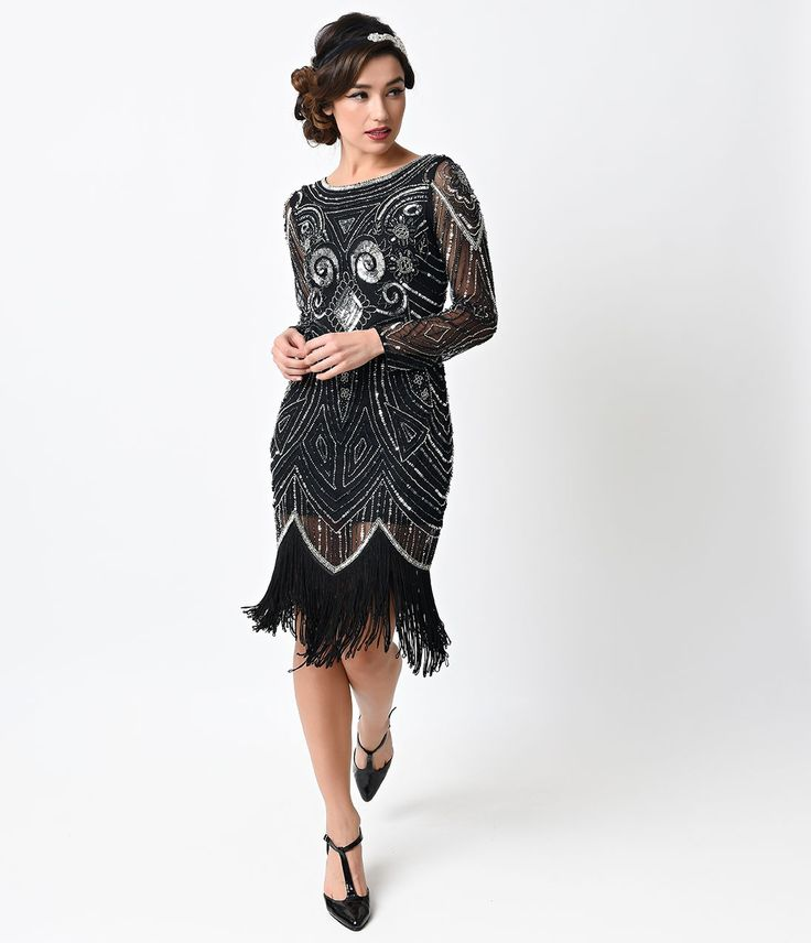 flapper dresses this is so style black u0026 silver hand beaded long sleeve karyn flapper dress KLTSAUL