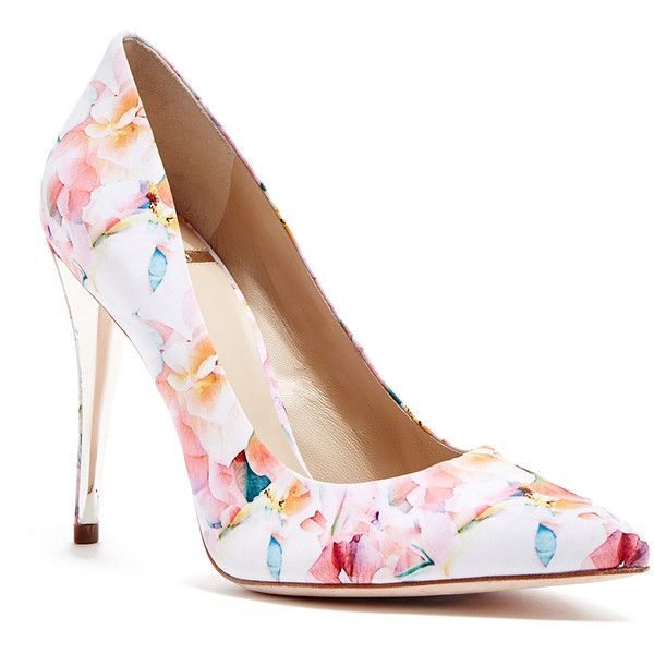 floral pump guess by marciano amy floral-print pump ($178) ❤ liked on polyvore featuring BLKOVAO