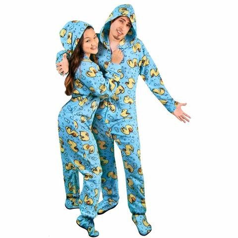 footie pajamas rubber ducks hooded footed pajamas with drop seat *limited sizes* HKYVSHO