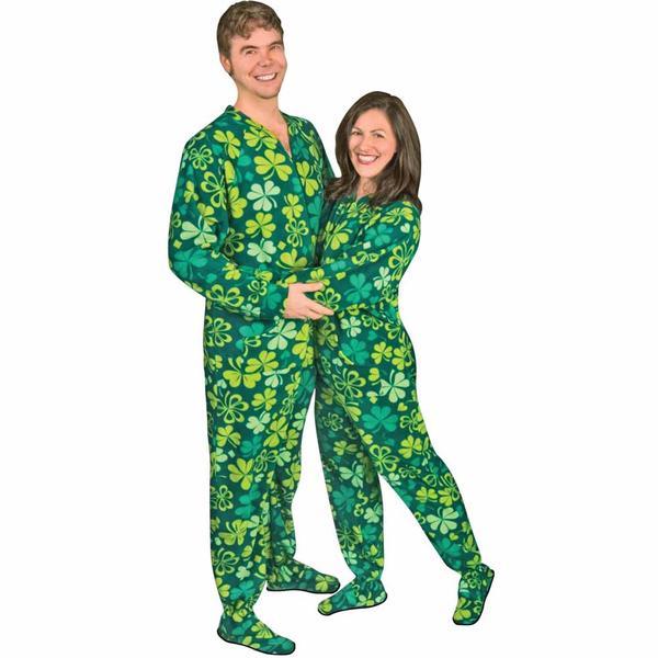 footie pajamas shamrocks u0026 clovers drop seat footed pajamas - pajama city ZXZIMTN