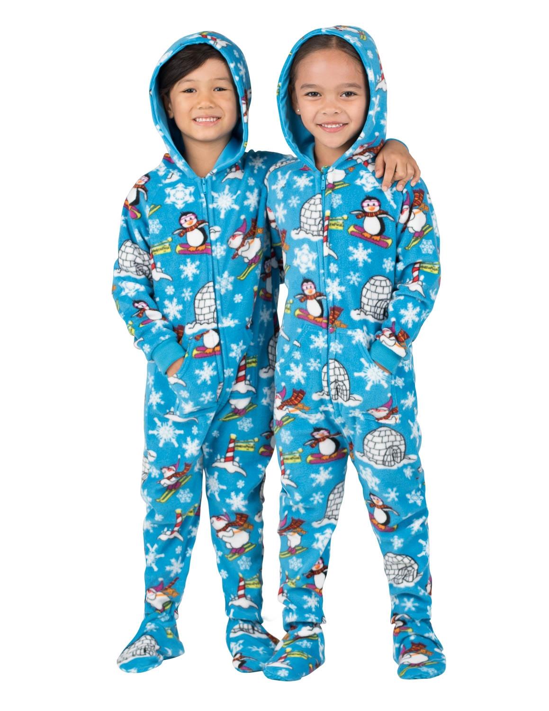 footie pajamas winter wonderland hooded footed pajamas MZQEORA
