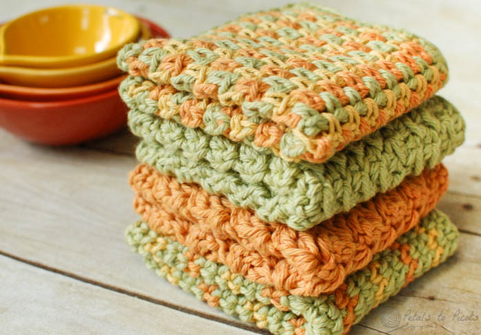 free crochet dishcloth patterns crochet dishcloths u2026 4 quick and easy crochet dishcloths patterns |  www.petalstopicots.com BZVBKHX