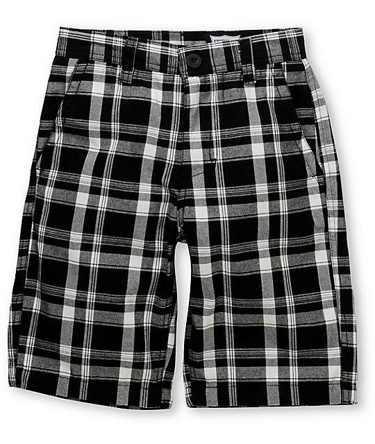 free world flint boys black plaid shorts BYTLUJF