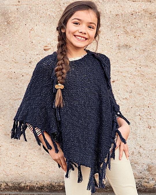 fringe-detail poncho sweater - girls QCDRWVJ