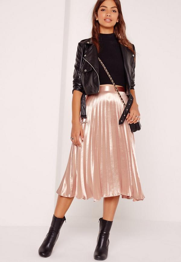 full pleated midi skirt rose gold OCSOUUE