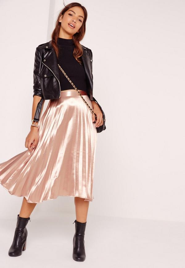 full pleated midi skirt rose gold OWYIBDK