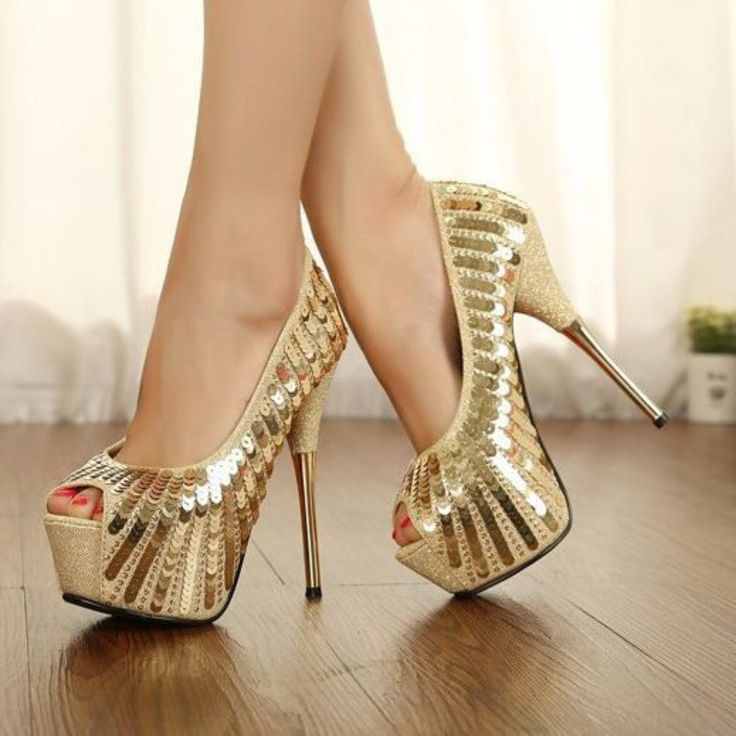 gold high heels gold sequines open toe women high heel shoes GYDFCYU