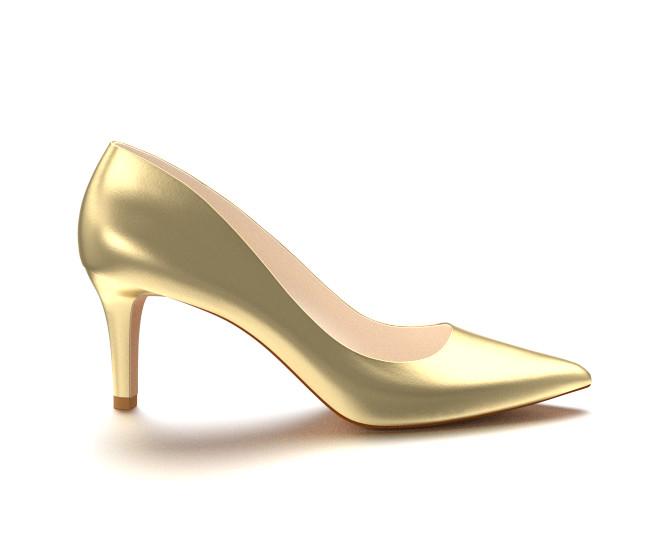 gold high heels pointed toe three inch heels, gold soft leather BTZFJVA
