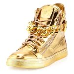 Wear gold sneakers and get a unique look