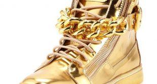 gold sneakers giuseppe zanotti metallic gold hi-top sneakers SWTVTYL