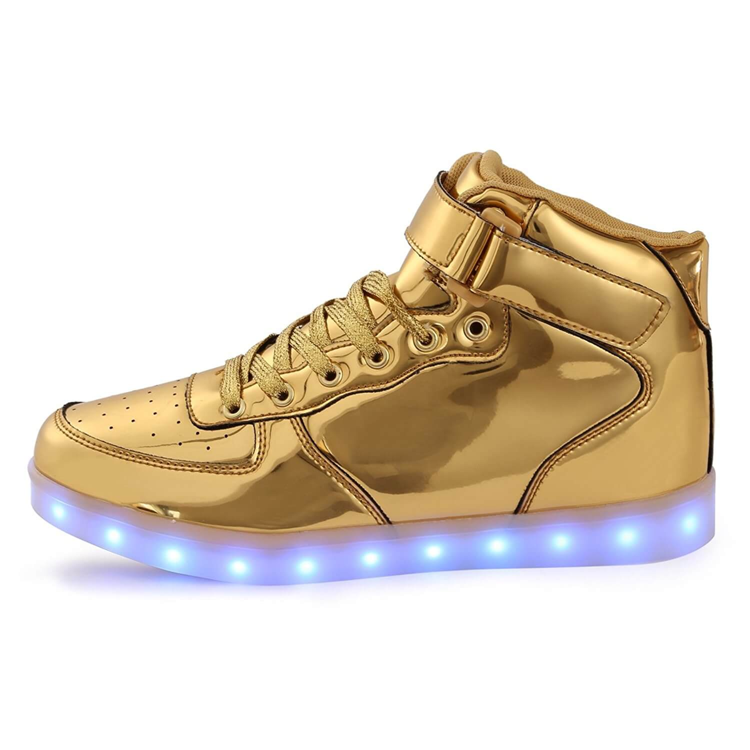 gold sneakers led shoes kids high top gold MDAQIDW