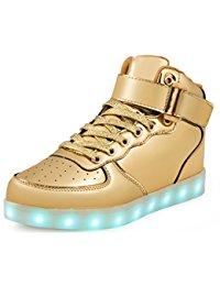 gold sneakers saguaro(tm) 8 colors led light-up couple womenu0027s menu0027s sport shoes sneakers  usb charging for SPHLJUI