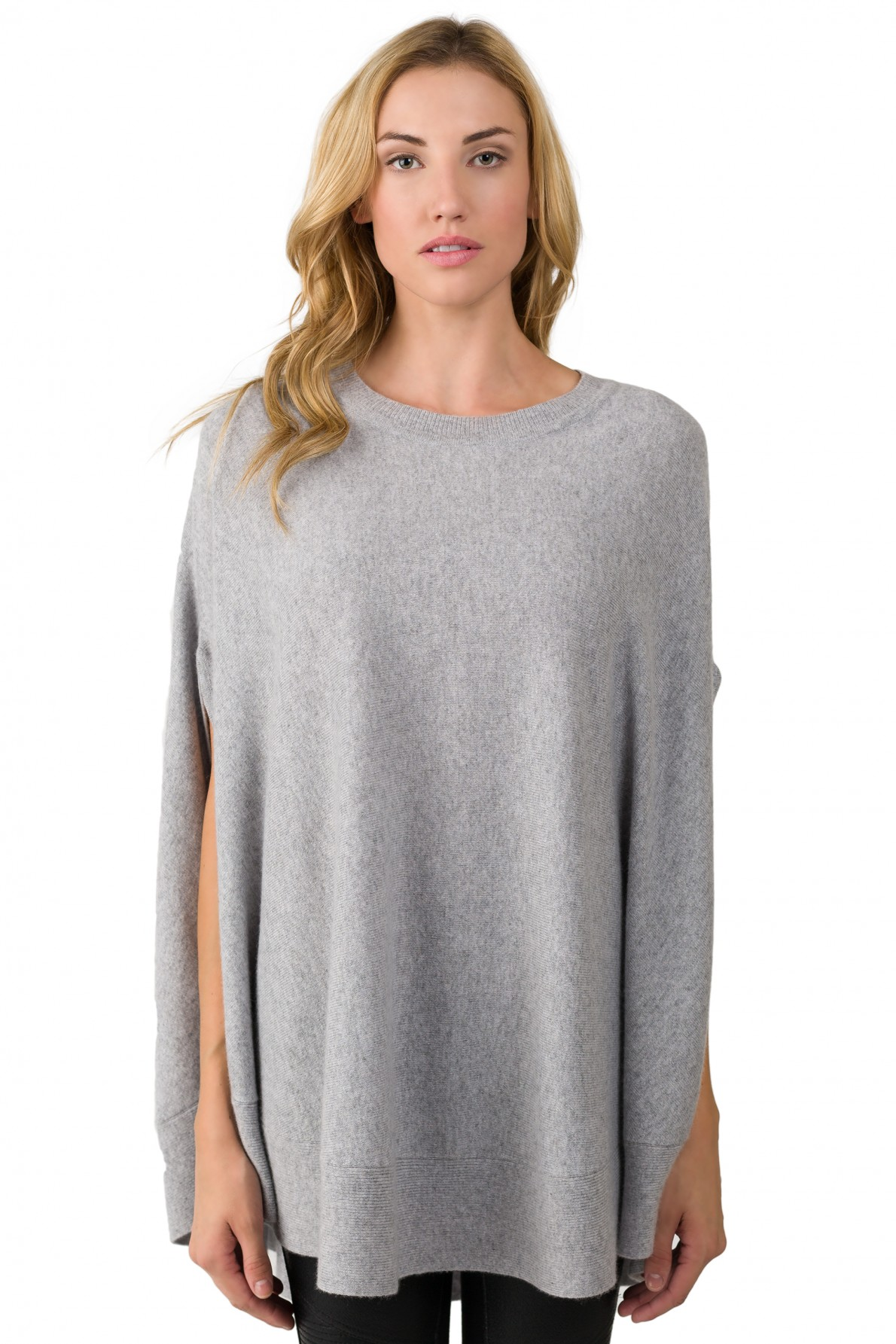 gray cashmere oversized laid-back poncho sweater front view AVZOJWM