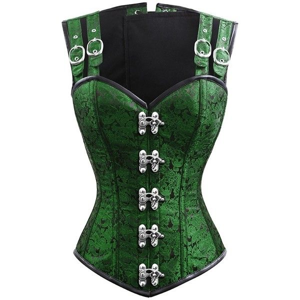 green corset eartha brocade gothic overbust corset with shoulder staps FSCLXTY