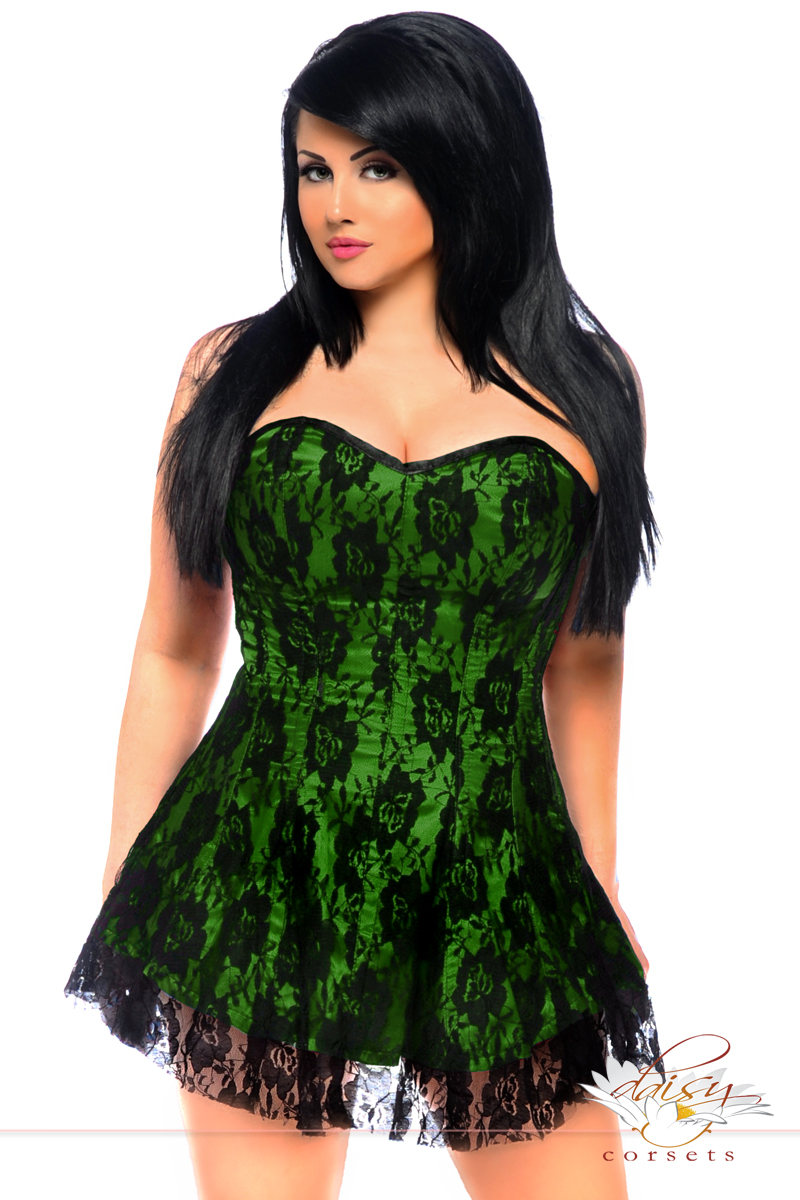 green corset plus size green satin corset dress with lace overlay TWVEWEN