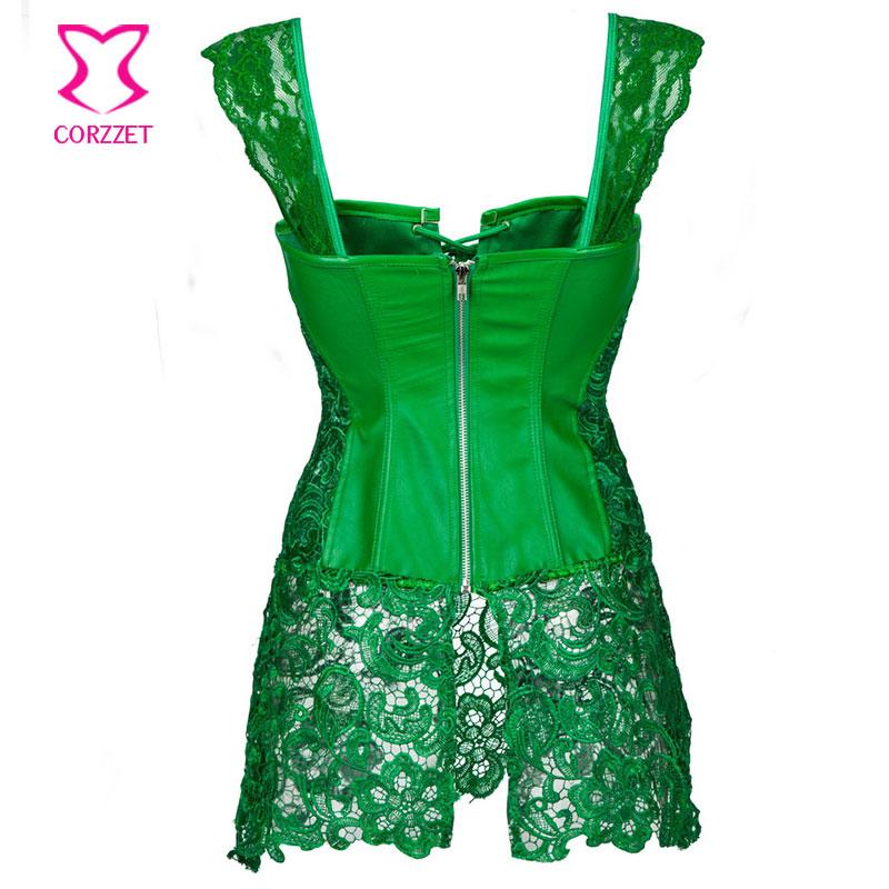 green corset punk green floral lace u0026 leather corset dress corselet plus size lingerie  corsets and BMVYYDS