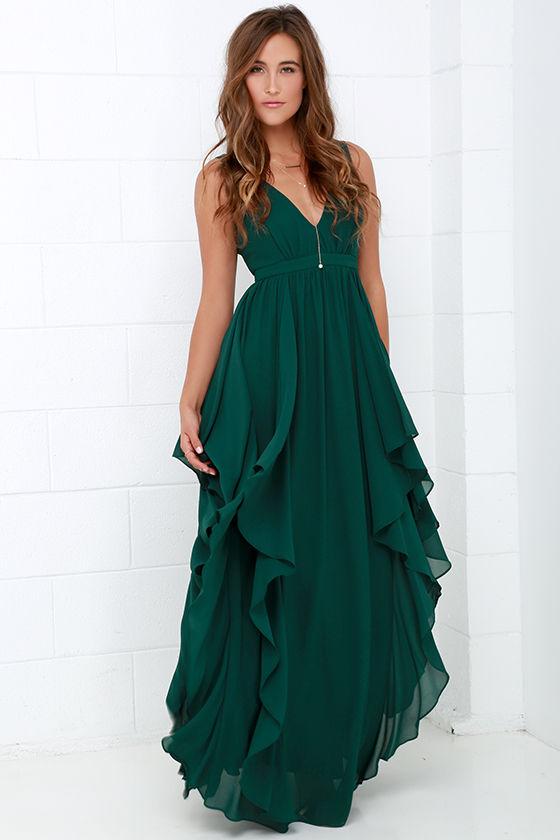 green dress beautiful dark green maxi dress - prom dress - bridesmaid dress - $98.00 DJVNUOI