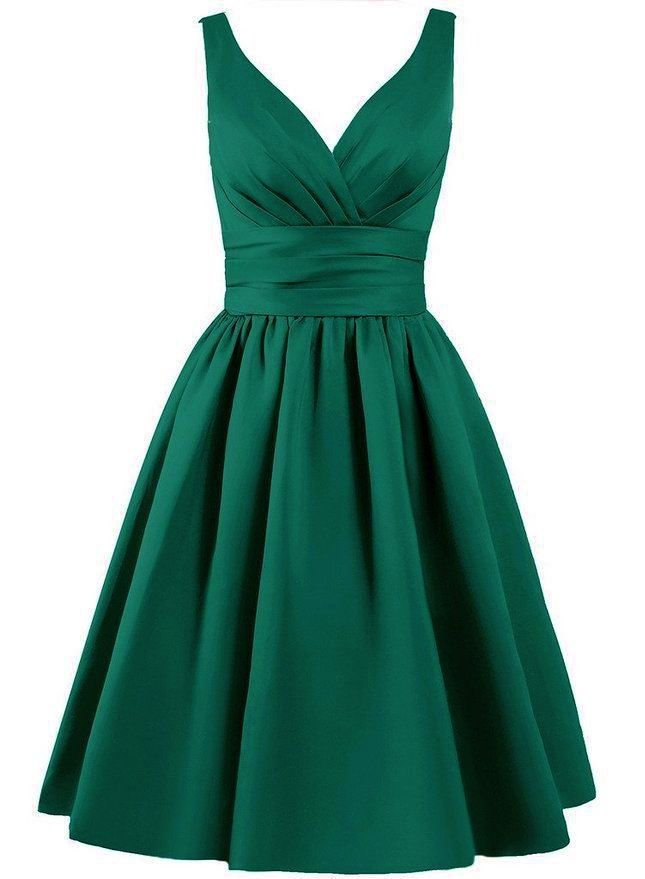 green dress beautiful knee length matte satin dress available in emerald green v shaped  pleated neckline YAOBLTH