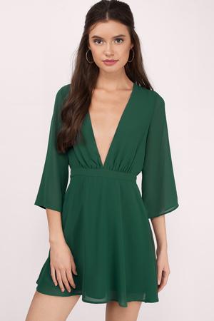 green dress take it slow green skater dress ... LUQKUZS