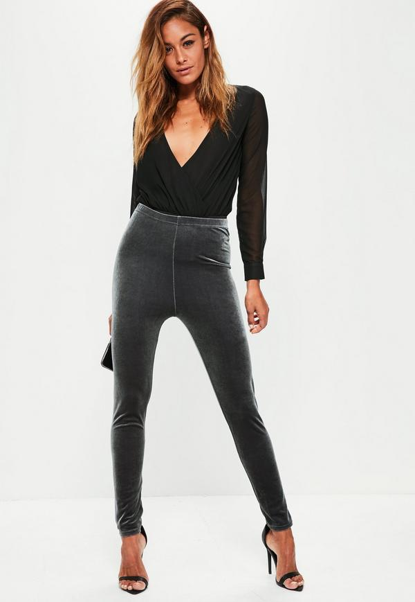 grey velvet leggings SQHTBCK
