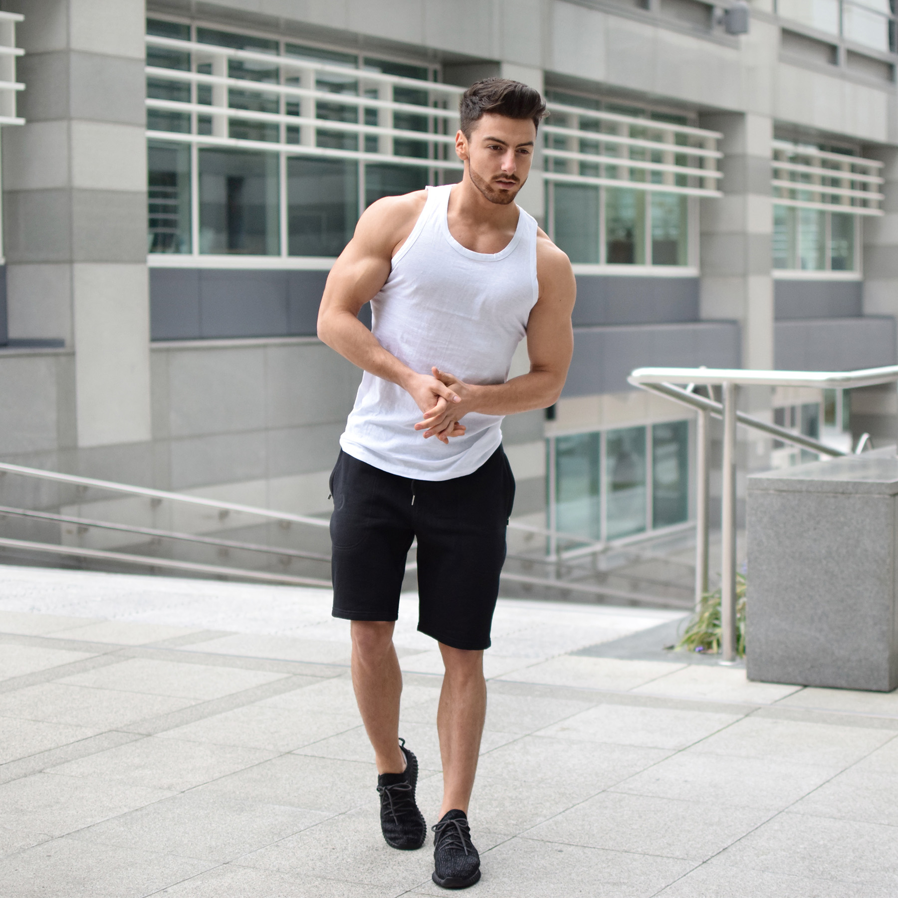 gym wear for men white cotton mens gym vest YYGOHVM