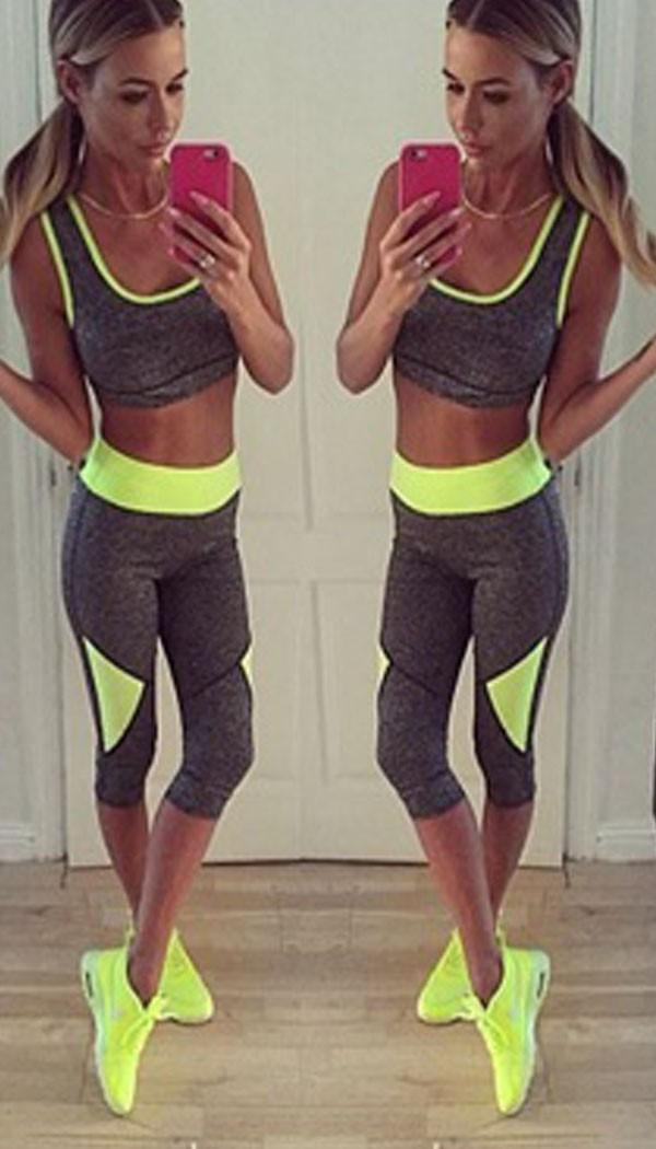 gym wear two piece set triangle neon yellow NORKOXU