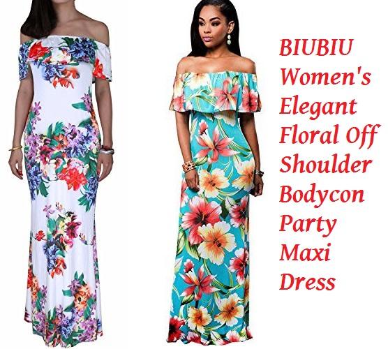 hawaiian dresses biubiu womenu0027s elegant floral off shoulder bodycon party maxi dress s-3xl OCMICGT