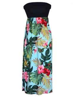 hawaiian dresses maxi long knit top strapless hawaiian dress moana SKAXOND