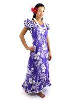 hawaiian dresses pacific legend hibiscus purple cotton hawaiian ruffle long muumuu dress ISYMCYV