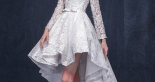 high low prom dresses fancy bateau neck beading bowknot high low lace prom dress : tidebuy.com HEUXGON