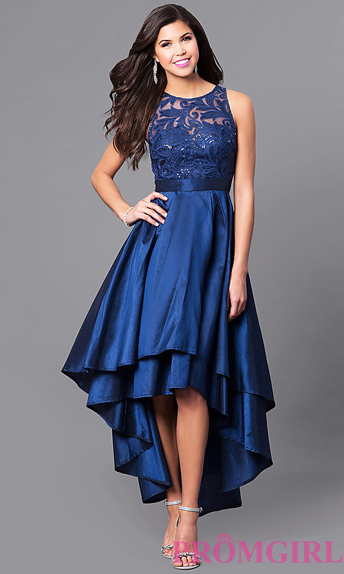 high low prom dresses image of high-low prom dress with embroidered illusion bodice. style: lp- GASUXOL