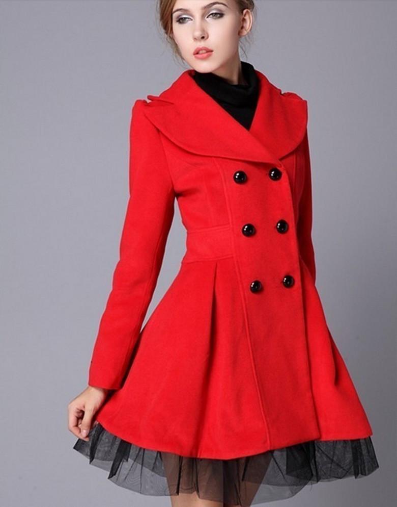 high quality fashion wool long winter dress coat for women - red BFOARIS