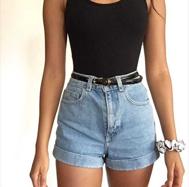 high waist shorts black shirt and high-waisted jean shorts. DEYLZWM
