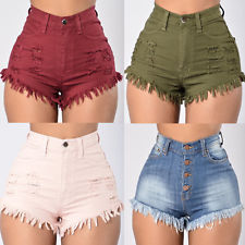 high waist shorts us summer women casual high waisted short mini jeans ripped jeans shorts  pants FXCLAXE