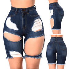 high waist shorts us women high waisted washed ripped hole short mini jeans pants shorts  summer KKAVAXS