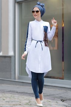 hijab fashion tunic beautiful brand new tunic with denim parts urban hijabs tops tunics AJDRIND