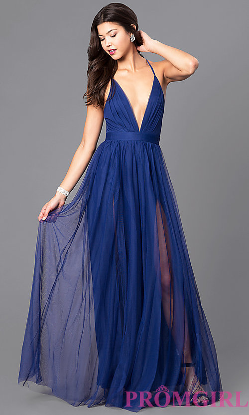 image of long sexy prom dress with deep v-neckline. style: lux- MJCYOHM