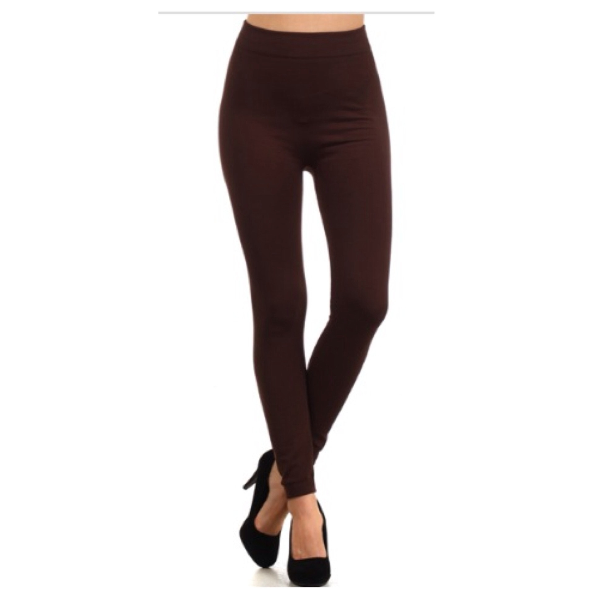 in style fleece lined solid coffee brown leggings CFRXZVU