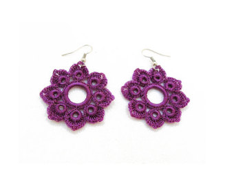 instant download pattern, tutorial crochet earrings pattern, tutorial  crochet pattern,dangle earrings , XTFUIHU