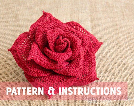 items similar to large crochet rose flower - centerpiece crochet flower -  bouquet flower CIJTGOB