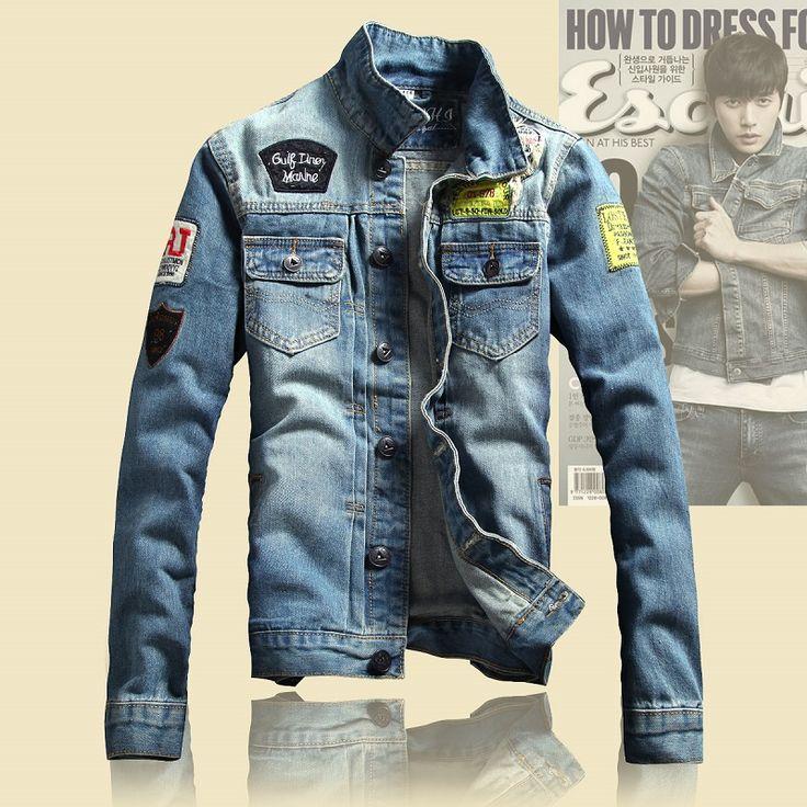 jean jackets for men 2016 spring mens jackets brand new slim fit vintage denim patch designs jeans  jacket UQZJHLF