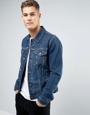 jean jackets for men asos denim jacket in blue wash IDHFVYF