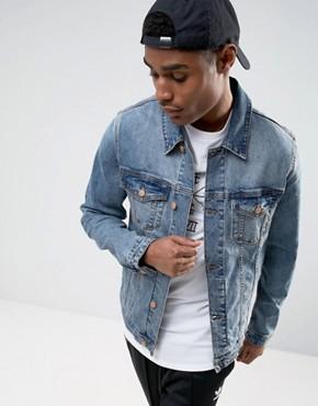 jean jackets for men asos skinny denim jacket in mid wash FODWZNC