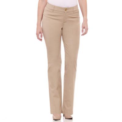 khaki pants for women st. johnu0027s bay® bi-stretch secretly slender pant UHVQWKN